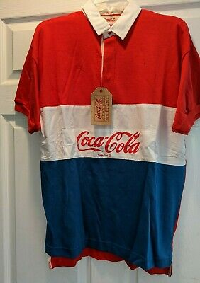 AU34.49 • Buy Vintage 1980s Spell Out Short Sleeved Coca Cola Rugby Shirt Red White Blue NEW