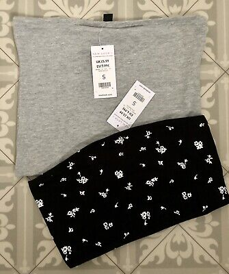 £4 • Buy 2 X BNWT Ladies Bandeau Tops ~ Grey & Black Floral ~ UK Size Small