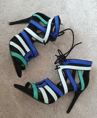 £12.50 • Buy Gorgeous Zara High Heel Strappy Sandals Blue,black,green Leather, Lace Up, Uk 5