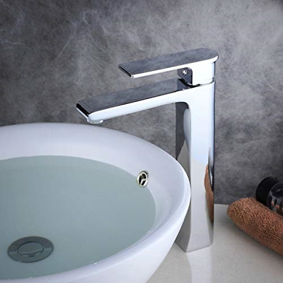 £98.86 • Buy Tall Counter Top Basin Mixer Tap Curved Bathroom Sink Tap Designer Style,Solid