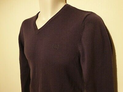 £24.99 • Buy FRED PERRY Purple V-neck Jumper 100% Merino Wool Size Small
