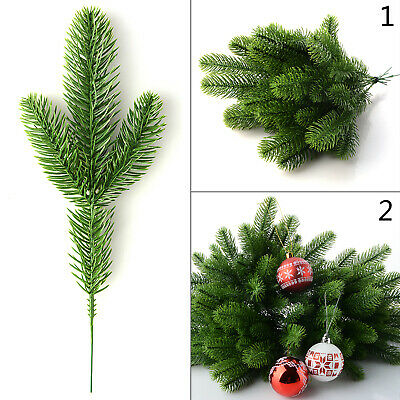 £8.99 • Buy 50Pcs Artificial Flower Fake Pine Tree Branches Green Plant Christmas Tree Decor