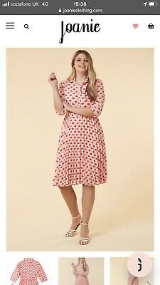 AU47.05 • Buy Joanie Clothing Fisher Lip Print Belted Pleated Pink Dress, Size 16