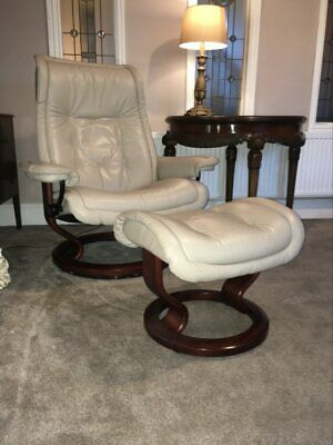 £295 • Buy Ekornes Stressless Recliner Leather Chair With Foot Stool Size LARGE