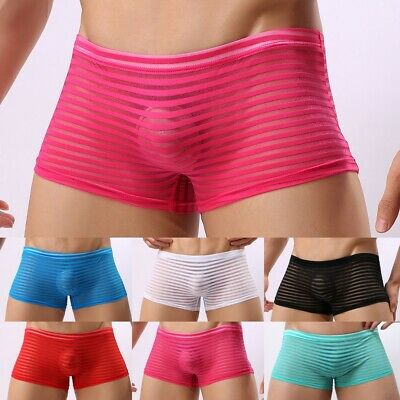£7.99 • Buy Sexy-Briefs Underwear See Through Striped Trunks Underpants Breathable