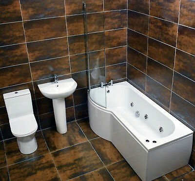£799.99 • Buy Claire Maria P Shaped Showerbath Suite Including 6 Jet Whirlpool System