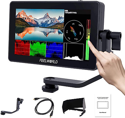 AU614.76 • Buy FEELWORLD F6 Plus 5.5 Inch DSLR On Camera Field Monitor Touch Screen 3D Lut Full