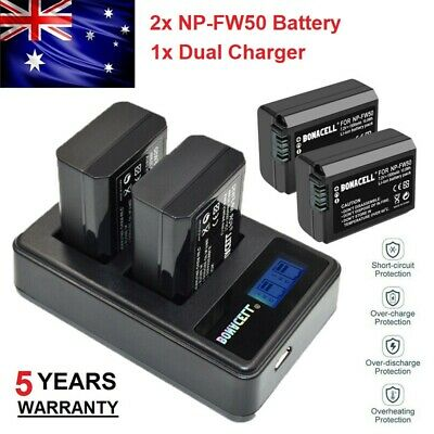 AU28.99 • Buy 2X NP-FW50 Battery + Charger For SONY A3000 A5000 A6500 A7 A7R II NEX-5 NEX-3