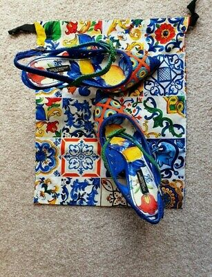£190 • Buy Dolce And Gabbana Majolica Woven Sling Back Shoes Uk Size 6.5 Eur 39.5