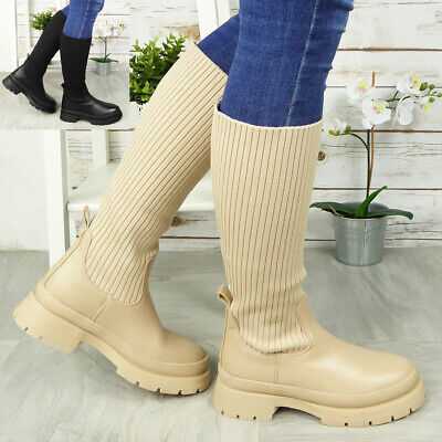 £24.90 • Buy Ladies Sock Mid Calf Boots Pull On Chunky Heel Comfy Punk Womens Shoes Sizes