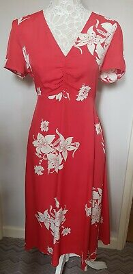 AU45.98 • Buy Alexa Chung M&S Red Floral Midi Tea Dress Holly Willoughby Size 12 Occasion