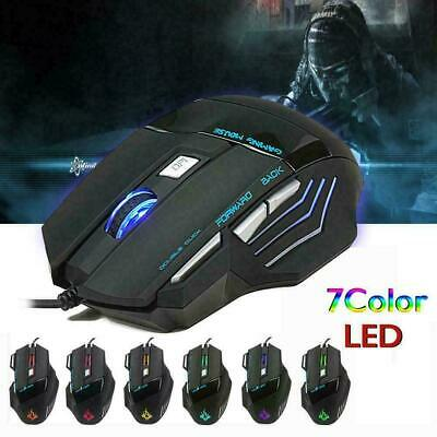 AU9.45 • Buy  5500 DPI Gaming Mouse 7 Buttons Color LED USB Optical Wired For Pro Gamer