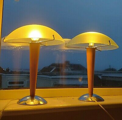 £75 • Buy Pair Vintage Ikea Kvintol Mushroom Frosted Glass Chrome And Wood Table Lamps