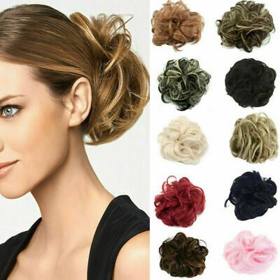 £2.99 • Buy Curly Messy Hair Bun Piece Updo Scrunchie Fake Natural Bobble Hair Extensions UK