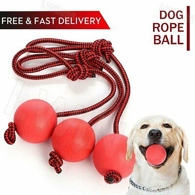 £10.19 • Buy 3x Dog Rope Ball Toy Elastic Solid Rubber Dogs Balls Chew Toys For Puppy Outdoor