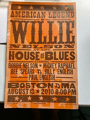 $89 • Buy WILLIE NELSON Concert Poster BOSTON 2010 House Of Blues - Hatch - Limited To 50