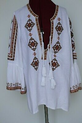 AU50 • Buy Tigerlily White Embroidered L/s Boho Top 100% Cotton Size 10 Ex Condition