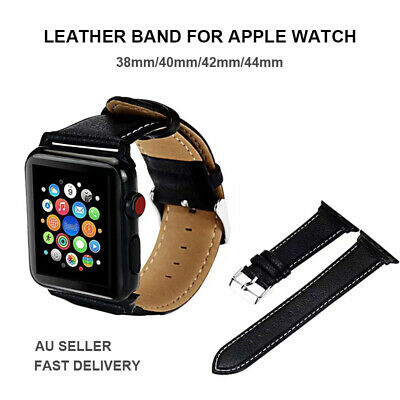 AU7.99 • Buy For Apple Watch IWatch 38/40/42/44 Genuine Leather Band Strap Classic Watch Band