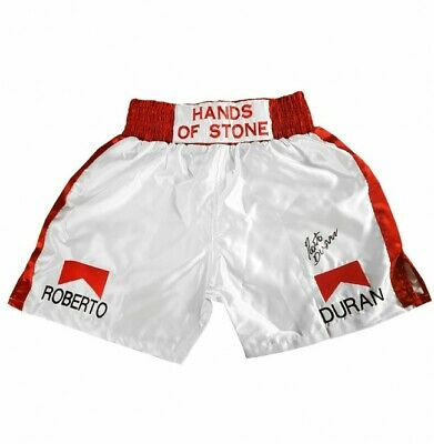 AU380 • Buy  Roberto Duran Signed Boxing Shorts Red/ White  With Certificate Of Authenticity