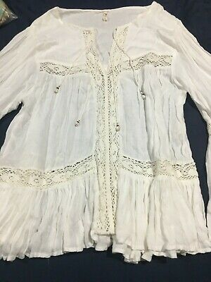 AU250 • Buy Spell And Gypsy Design Flared Sleeve White Blouse Top Sz- XL