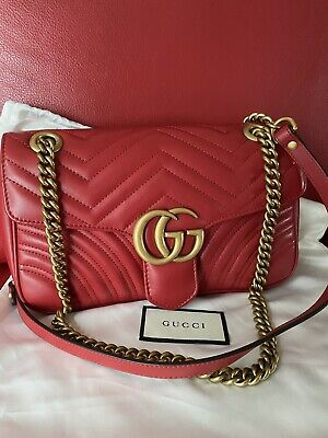 AU1785 • Buy Authentic Gucci Marmont Red Leather Small Flap Shoulder Bag Crossbody