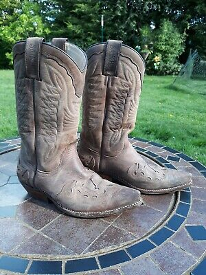 £78 • Buy Vintage Sancho Authentic Western Texan Overlaid Cowboy Boots, Brown Sz 4 Womens