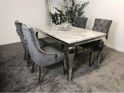 £899 • Buy Marble Dining Table And 4 French Velvet Lion Knocker Chairs - Collect In Person
