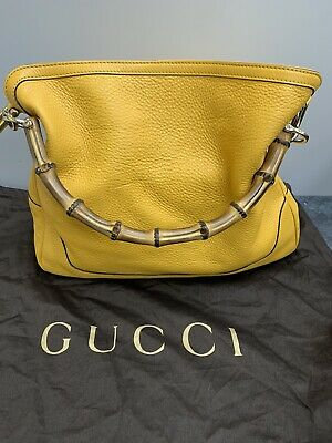 AU463.60 • Buy Gucci Yellow Leather Diana Bamboo Handle Shoulder Bag