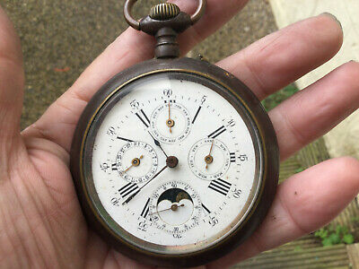 £106 • Buy Antique Multi Dial Pocket Watch Calendar Moon Phase Complications  No Reserve