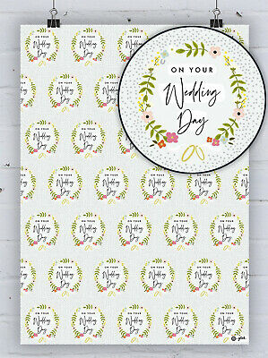 £4.25 • Buy Pretty Wedding Wreath Gift Wrap Floral Congratulations Marriage Wrapping Paper