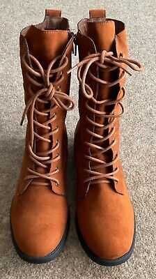 £4.20 • Buy Womens Boots Tan Mid Calf Length Boots With Side Zip