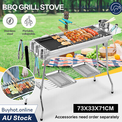 AU49 • Buy Outdoor Folding Stainless Steel Bbq Barbecue Grill Stove Charcoal Picnic Camping