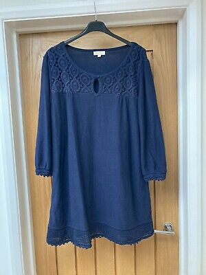 £8.50 • Buy Ladies Monsoon Navy Cotton Jumper Dress With Crochet Detail Size XL(16-18)
