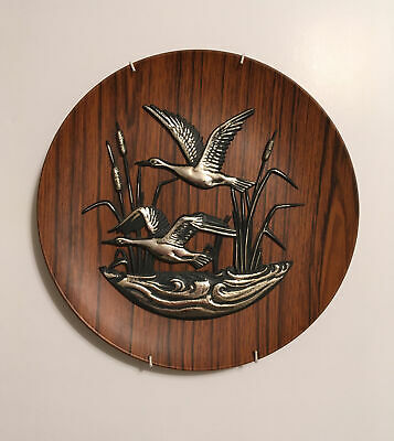 £17 • Buy VINTAGE RETRO 70s FLYING DUCK WALL PLAQUE / PLATE KITSCH PLASTIC WOOD EFFECT