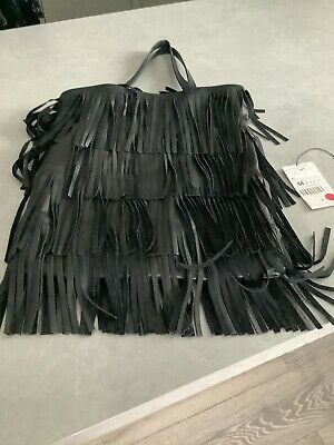 £75 • Buy Zara Women Fringe Leather Shoulder Bag Sold Out RARE Black Immaculate Condition
