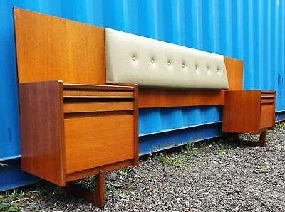 £325 • Buy RETRO Mid Century WILLIAM LAWRENCE Bedside CABINETS/ DRAWERS + HEADBOARD