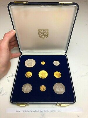 £343 • Buy 1972 Mixed Jersey Gold & Silver Wedding Proof Set - 9 Coins, Lot #2