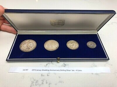 £16 • Buy 1972 Jersey Wedding Anniversary Stirling Silver  Set - 4 Coins, Lot #7