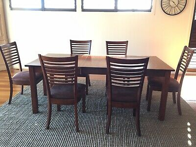 AU280 • Buy Extendable Dark Wood Dining Table And 6 Dining Chairs Set