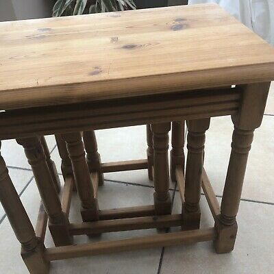 £39.99 • Buy Attractive Nest Of 3 Cotswold Pine Tables For Upcycling.