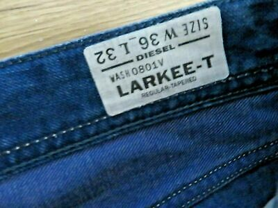 £32.80 • Buy DIESEL LARKEE - T AUTHENTIC JEANS Size W 36 L 32 Wash 0801V Leather Tag