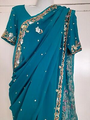 £24.99 • Buy Ladies Green Saree With Stitched Blouse Size 12. BNWT