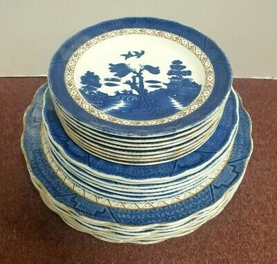 £60 • Buy 22 X ROYAL DOULTON BOOTHS REAL OLD WILLOW PLATES TC1126 BLUE & GOLD FINE CHINA