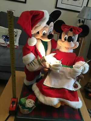 £120 • Buy Mickey And Minnie Rocking Chair Christmas Figures 1997 By Telco,light +  Music.