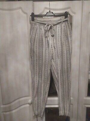 £0.99 • Buy M&S Collection Linen Stripe Trousers Half Elasticated Waist Size 8