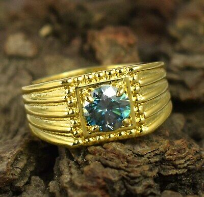 AU1.32 • Buy  Green Diamond  3.41 Ct  Solitaire Gold Finish Ring Birthday Gift