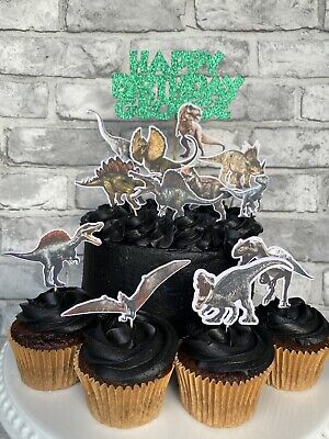 £6 • Buy Dinosaurs Cake Topper Set Cupcake Toppers Party Decoration T-Rex Raptor