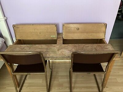 £19.40 • Buy Vintage Double School Desk And Chairs