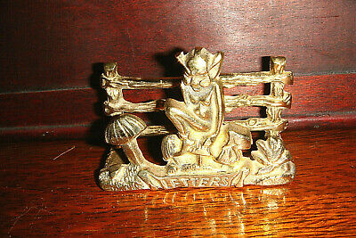 £4.99 • Buy Vintage Brass Cornish Pixie Sitting On A Mushroom With Frog Letter Rack