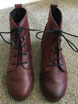 £16 • Buy Red Or Dead Burgundy Leather Lace Up Ankle Boots Size 38 Unworn